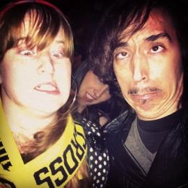 Making weird faces.