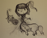 Here's a drawing of Katelyn murdering a unicorn.