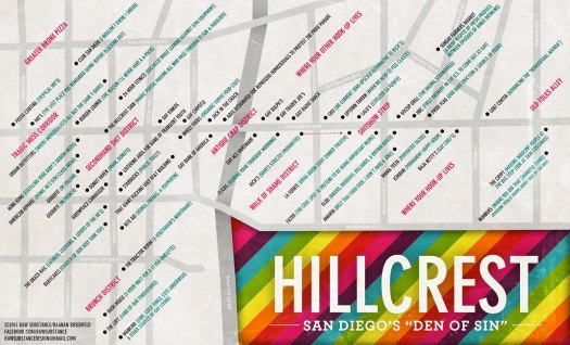 "This map was hard to find the next day until I typed ""Hillcrest map gay"" into the Google"