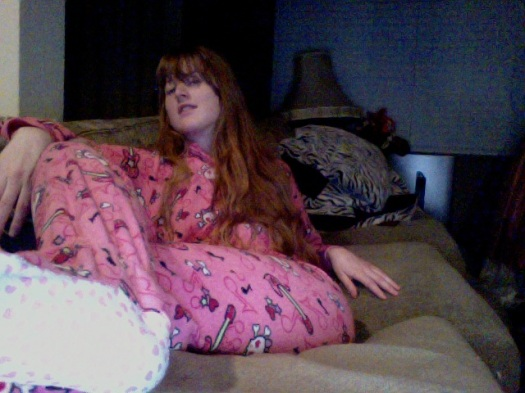 Lookin' like a supermodel in my onesie jam jams.